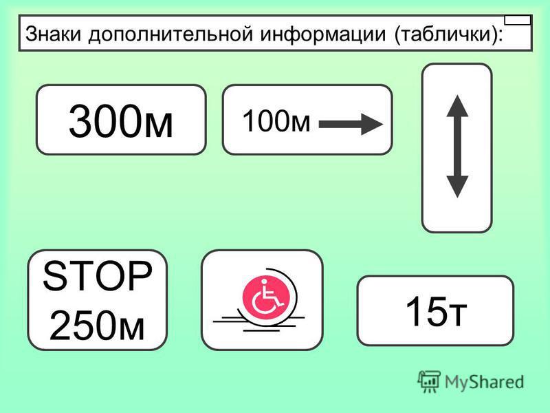 Знаки дополнительной информации (таблички): 300 м 100 м STOP 250 м 15 т