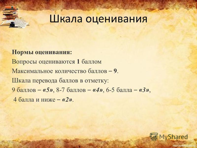 http://ku4mina.ucoz.ru/ Шкала оценивания Нормы оценивания: Вопросы оцениваются 1 баллом Максимальное количество баллов – 9. Шкала перевода баллов в отметку: 9 баллов – « 5 », 8-7 баллов – « 4 », 6-5 балла – « 3 », 4 балла и ниже – « 2 ».