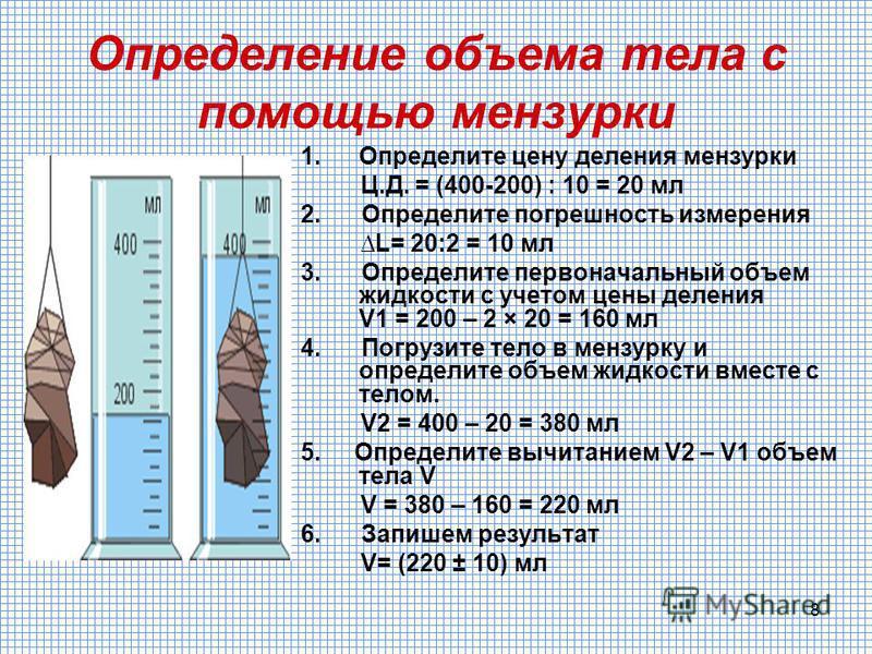 8 Определение объема тела с помощью мензурки 1. Определите цену деления мензурки Ц.Д. = (400-200) : 10 = 20 мл 2. Определите погрешность измерения L= 20:2 = 10 мл 3. Определите первоначальный объем жидкости с учетом цены деления V1 = 200 – 2 × 20 = 1