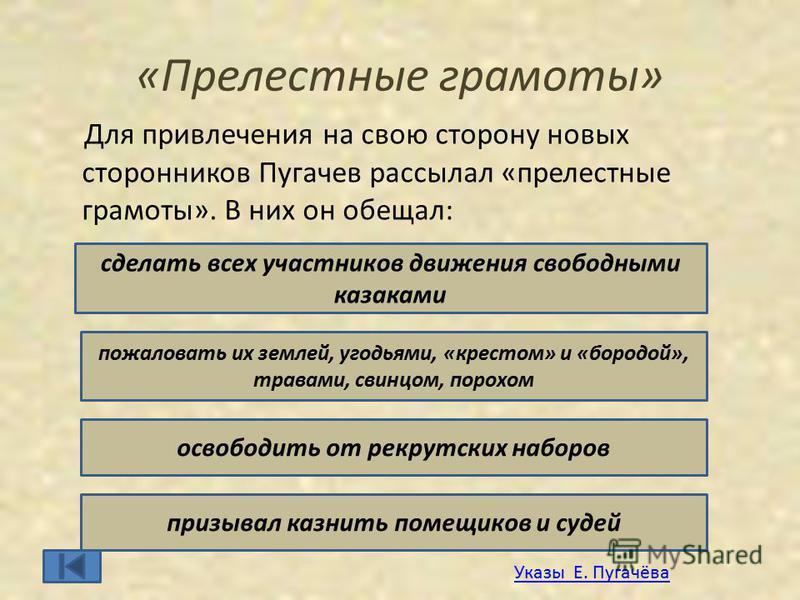 «Прелестные грамоты» Для привлечения на свою сторону новых сторонников Пугачев рассылал «прелестные грамоты». В них он обещал: сделать всех участников движения свободными казаками пожаловать их землей, угодьями, «крестом» и «бородой», травами, свинцо