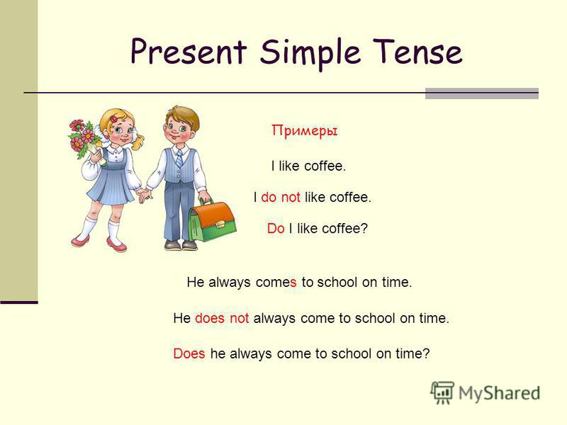 Present Simple Tense Примеры He always comes to school on time. He does not always come to school on time. Does he always come to school on time? I like coffee. I do not like coffee. Do I like coffee?