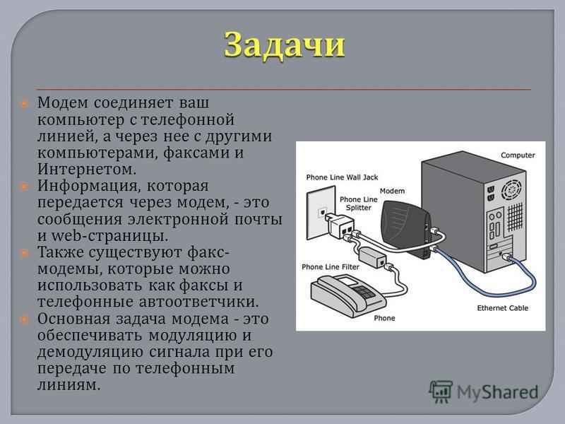 Модем соединяет ваш компьютер с телефонной линией, а через нее с другими компьютерами, факсами и Интернетом. Информация, которая передается через модем, - это сообщения электронной почты и web- страницы. Также существуют факс - модемы, которые можно