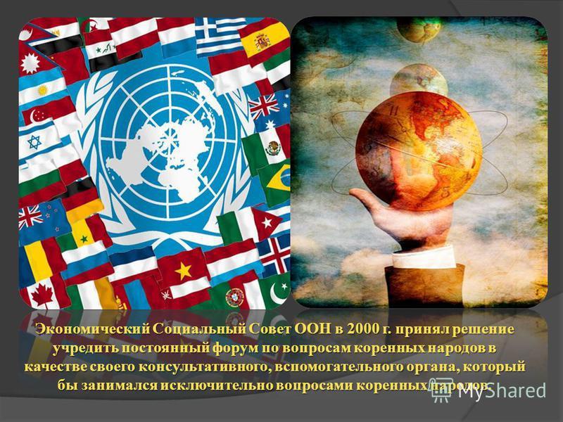 Экономический Социальный Совет ООН в 2000 г. принял решение учредить постоянный форум по вопросам коренных народов в качестве своего консультативного, вспомогательного органа, который бы занимался исключительно вопросами коренных народов.