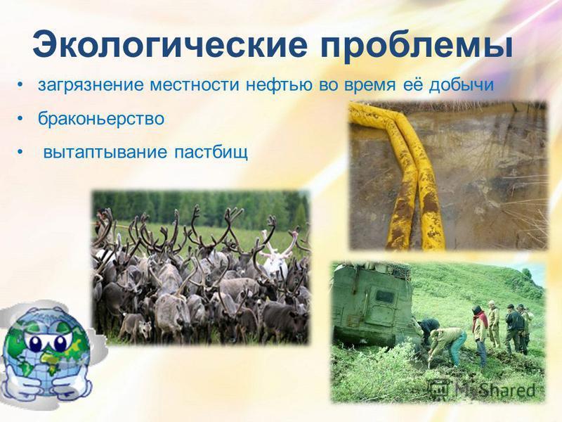 Экологические проблемы загрязнение местности нефтью во время её добычи браконьерство вытаптывание пастбищ