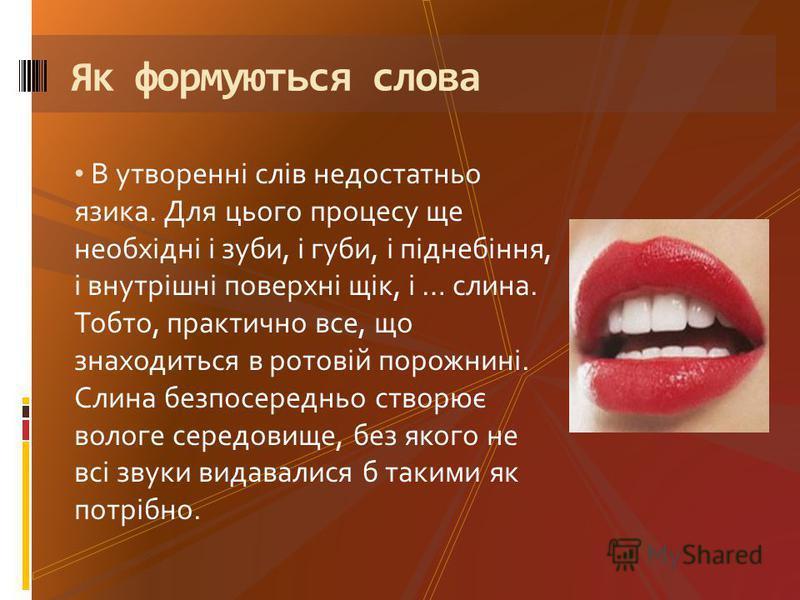 В утворенні слів недостатньо язика. Для цього процесу ще необхідні і зуби, і губи, і піднебіння, і внутрішні поверхні щік, і … слина. Тобто, практично все, що знаходиться в ротовій порожнині. Слина безпосередньо створює вологе середовище, без якого н