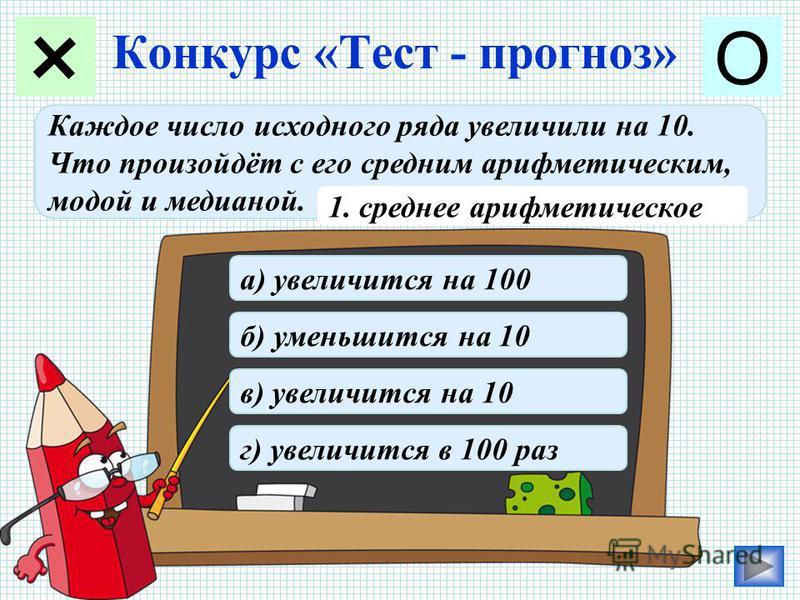 Конкурс «Тест - прогноз» + О Каждое число исходного ряда увеличили на 10. Что произойдёт с его средним арифметическим, модой и медианой. 1. среднее арифметическое а) увеличится на 100 б) уменьшится на 10 в) увеличится на 10 г) увеличится в 100 раз