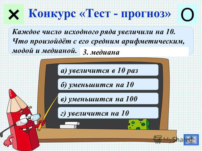 Конкурс «Тест - прогноз» + О Каждое число исходного ряда увеличили на 10. Что произойдёт с его средним арифметическим, модой и медианой. 3. медиана в) уменьшится на 100 б) уменьшится на 10 г) увеличится на 10 а) увеличится в 10 раз