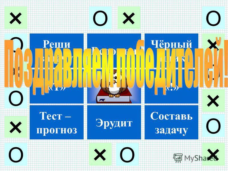 Реши задачу «Т» Тест – прогноз Вспомни Эрудит Чёрный ящик «!» Составь задачу О + О + О + О + О + О ++ + О О