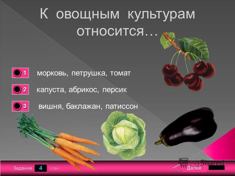 4 Задание К овощным культурам относится… морковь, петрушка, томат капуста, абрикос, персик вишня, баклажан, патиссон Далее 1 бал. 1111 0 2222 0 3333 0