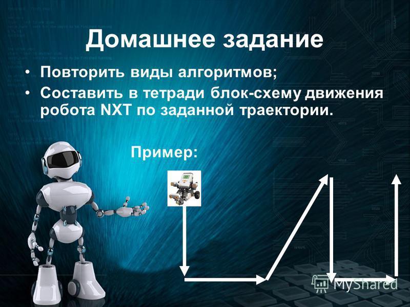 Домашнее задание Повторить виды алгоритмов; Составить в тетради блок-схему движения робота NXT по заданной траектории. Пример: