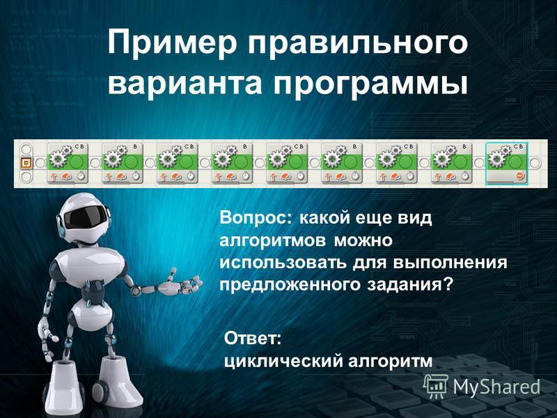 Пример правильного варианта программы Вопрос: какой еще вид алгоритмов можно использовать для выполнения предложенного задания? Ответ: циклический алгоритм