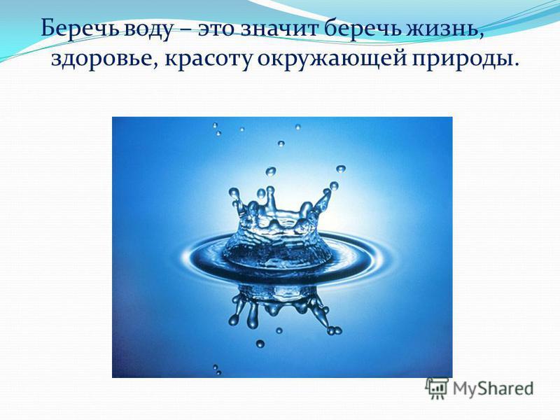 Беречь воду – это значит беречь жизнь, здоровье, красоту окружающей природы.