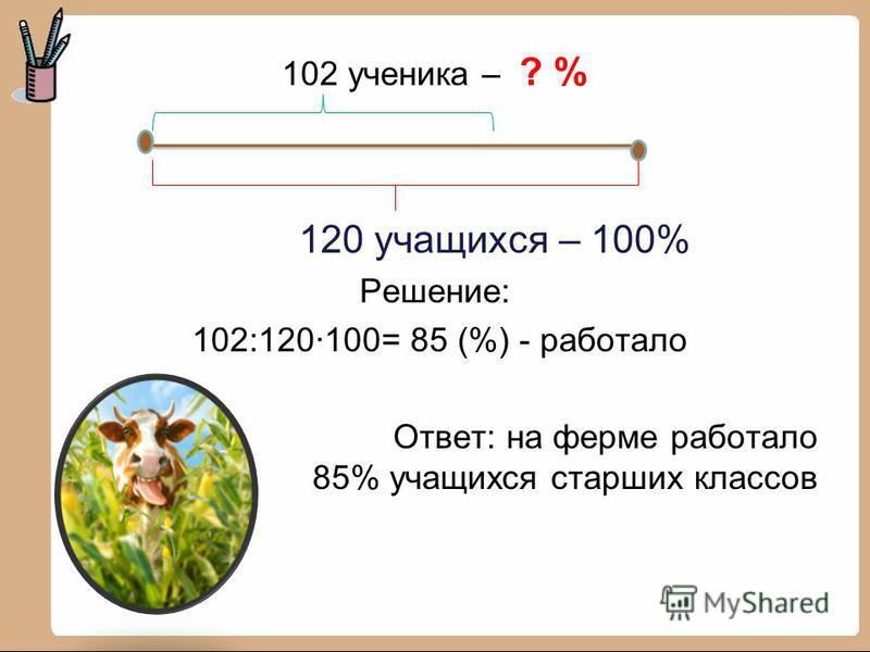 102 ученика – ? % 120 учащихся – 100% Решение: 102:120·100= 85 (%) - работало Ответ: на ферме работало 85% учащихся старших классов