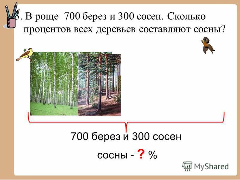 3. В роще 700 берез и 300 сосен. Сколько процентов всех деревьев составляют сосны? 700 берез и 300 сосен сосны - ? %