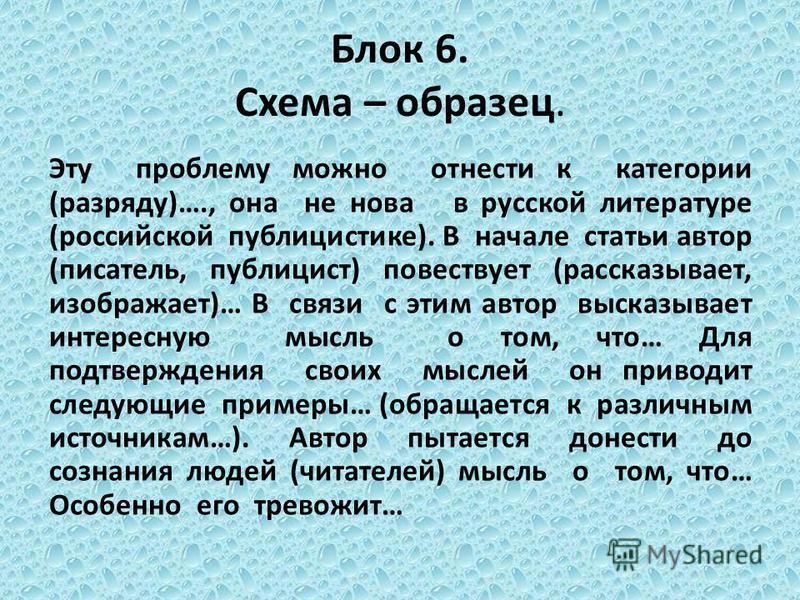 Блок 6. Схема – образец. Эту проблему можно отнести к категории (разряду)…., она не нова в русской литературе (российской публицистике). В начале статьи автор (писатель, публицист) повествует (рассказывает, изображает)… В связи с этим автор высказыва