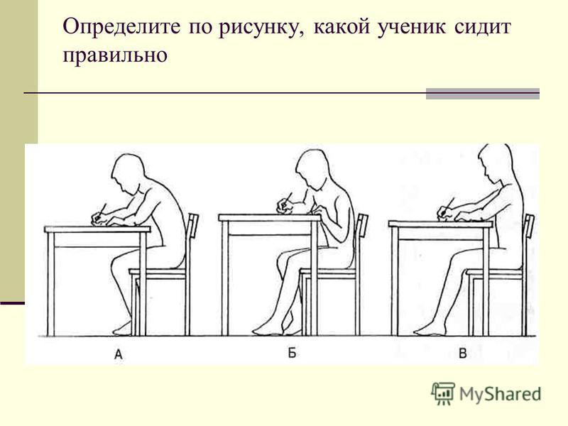 Определите по рисунку, какой ученик сидит правильно