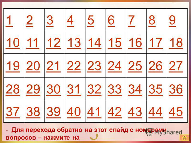 123456789 101112131415161718 192021222324252627 282930313233343536 373839404142434445 -Для перехода обратно на этот слайд с номерами вопросов – нажмите на