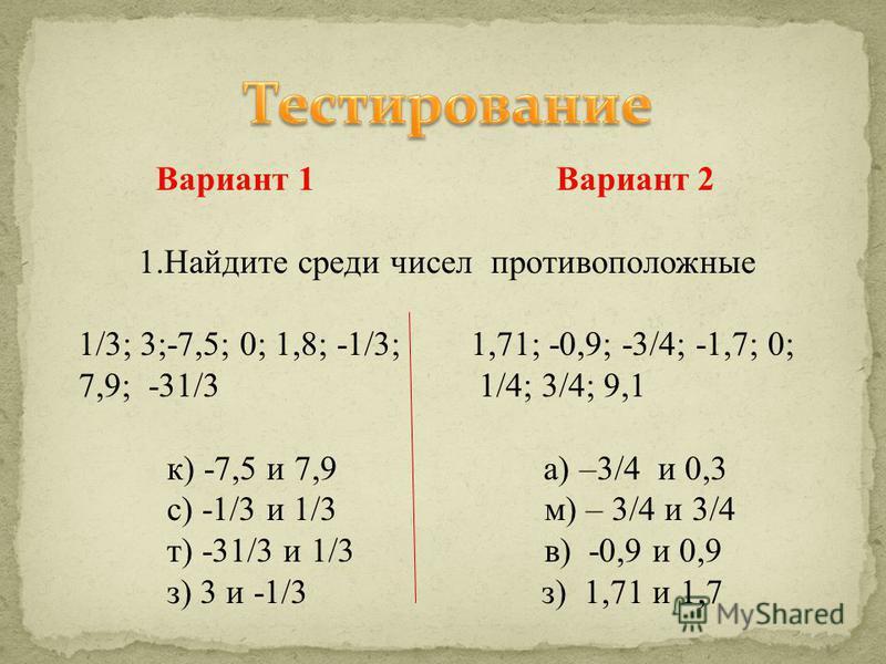 Вариант 1 Вариант 2 1. Найдите среди чисел противоположные 1/3; 3;-7,5; 0; 1,8; -1/3; 1,71; -0,9; -3/4; -1,7; 0; 7,9; -31/3 1/4; 3/4; 9,1 к) -7,5 и 7,9 а) –3/4 и 0,3 с) -1/3 и 1/3 м) – 3/4 и 3/4 т) -31/3 и 1/3 в) -0,9 и 0,9 з) 3 и -1/3 з) 1,71 и 1,7
