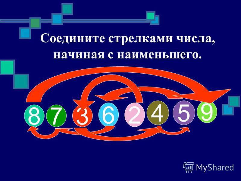 8 73 62 45 9 Соедините стрелками числа, начиная с наименьшего.