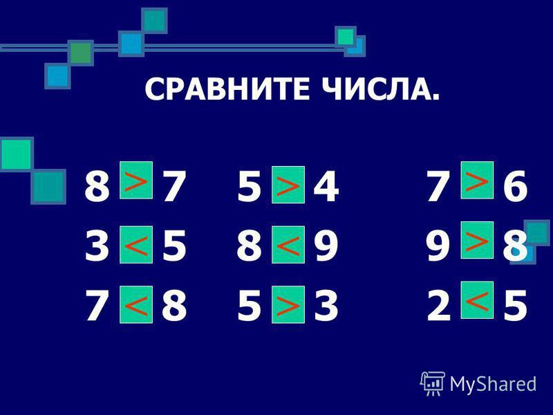 СРАВНИТЕ ЧИСЛА. 8 * 7 5 * 4 7 * 6 3 * 5 8 * 9 9 * 8 7 * 8 5 * 3 2 * 5 > < < > < > > > <