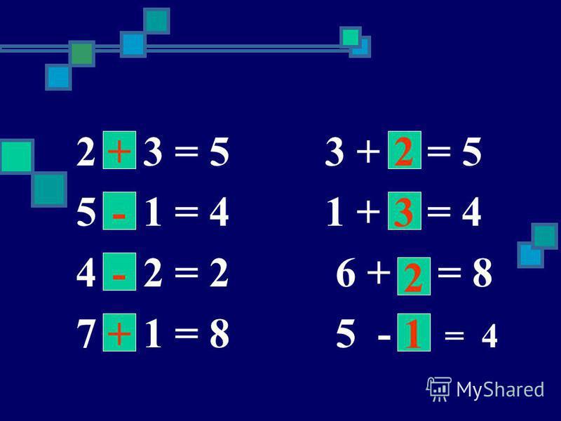 2 3 = 5 3 + = 5 5 1 = 4 1 + = 4 4 2 = 2 6 + = 8 7 1 = 8 5 - = 4 + - - 1 3 2 2 +