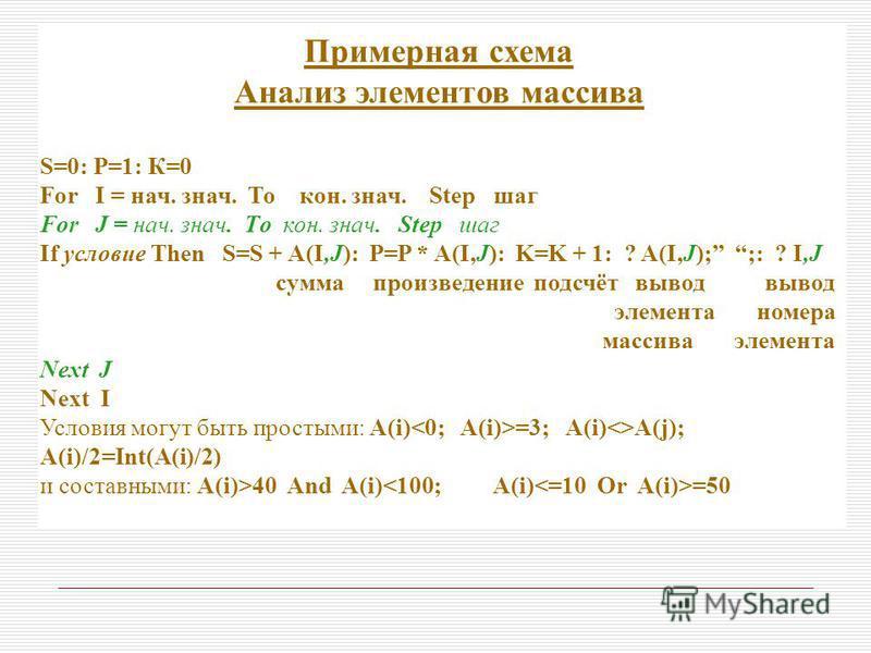 Примерная схема Анализ элементов массива S=0: Р=1: К=0 For I = нач. знач. То кон. знач. Step шаг For J = нач. знач. Тo кон. знач. Step шаг If условие Then S=S + A(I,J): P=P * A(I,J): K=K + 1: ? A(I,J); ;: ? I,J сумма произведение подсчёт вывод вывод