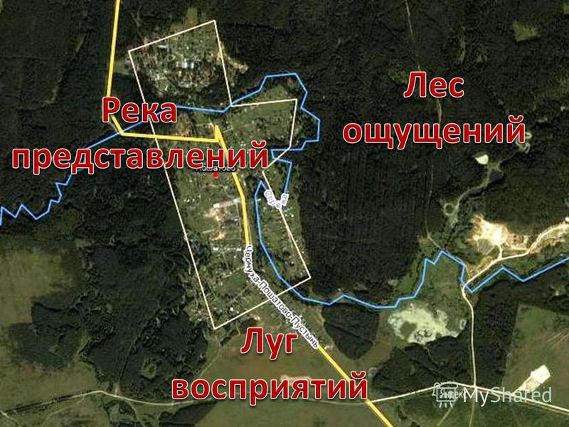 Речка представлений Карта Продолжение маршрута Луг восприятий Начало маршрута Продолжение маршрута Лес ощущений