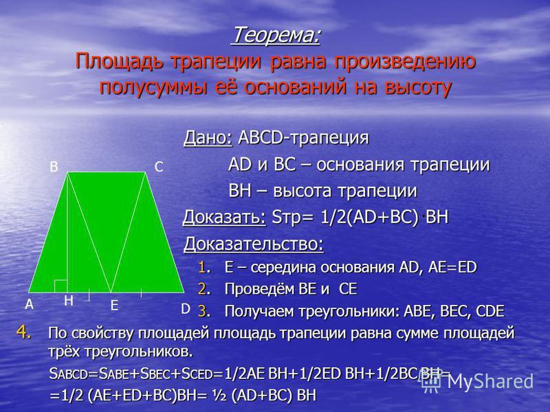 Теорема: Площадь трапеции равна произведению полусуммы её оснований на высоту Дано: ABCD-трапеция Дано: ABCD-трапеция AD и BC – основания трапеции AD и BC – основания трапеции BH – высота трапеции BH – высота трапеции Доказать: Sтр= 1/2(AD+BC) BH Док