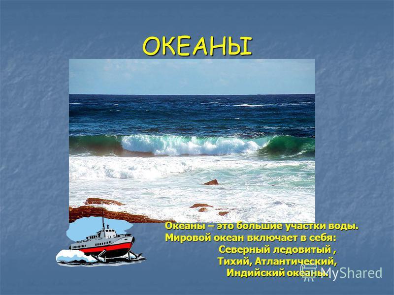 ОКЕАНЫ Океаны – это большие участки воды. Мировой океан включает в себя: Северный ледовитый, Тихий, Атлантический, Индийский океаны.