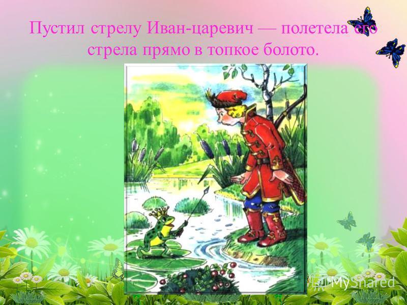 Пустил стрелу Иван-царевич полетела его стрела прямо в топкое болото.