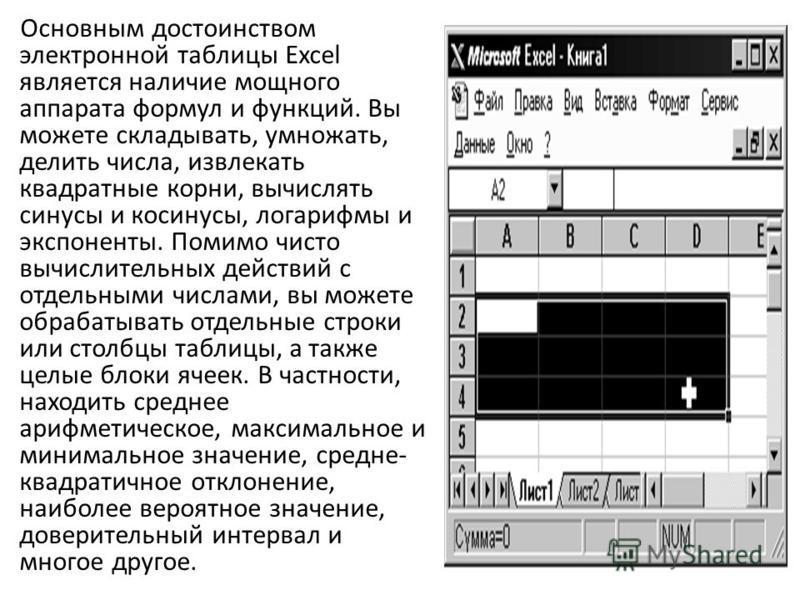 Основным достоинством электронной таблицы Excel является наличие мощного аппарата формул и функций. Вы можете складывать, умножать, делить числа, извлекать квадратные корни, вычислять синусы и косинусы, логарифмы и экспоненты. Помимо чисто вычислител