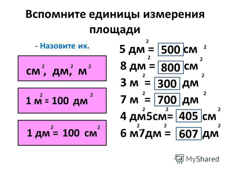Вспомните единицы измерения площади - Назовите их. 5 дм = см 8 дм = см 3 м = дм 7 м = дм 4 дм 5 см= см 6 м 7 дм = дм см, дм, м 222 1 м = дм дм 1 дм = см 100 22 22 2 2 2 2 22 22 500 800 300 700 405 607 2 2 2 2 2 2