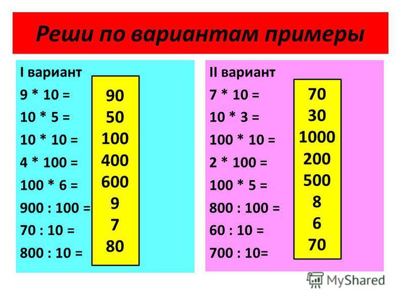 Реши по вариантам примеры I вариант 9 * 10 = 10 * 5 = 10 * 10 = 4 * 100 = 100 * 6 = 900 : 100 = 70 : 10 = 800 : 10 = II вариант 7 * 10 = 10 * 3 = 100 * 10 = 2 * 100 = 100 * 5 = 800 : 100 = 60 : 10 = 700 : 10= 90 50 100 400 600 9 7 80 70 30 1000 200 5