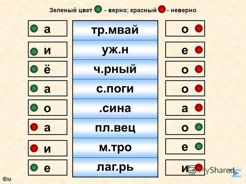 7 трамвай уж.н ч.рный с.поги.сина пл.вес метро лагерь ао о о е и а о а ё и а о е и е Зеленый цвет - верно; красный - неверно ®м®м
