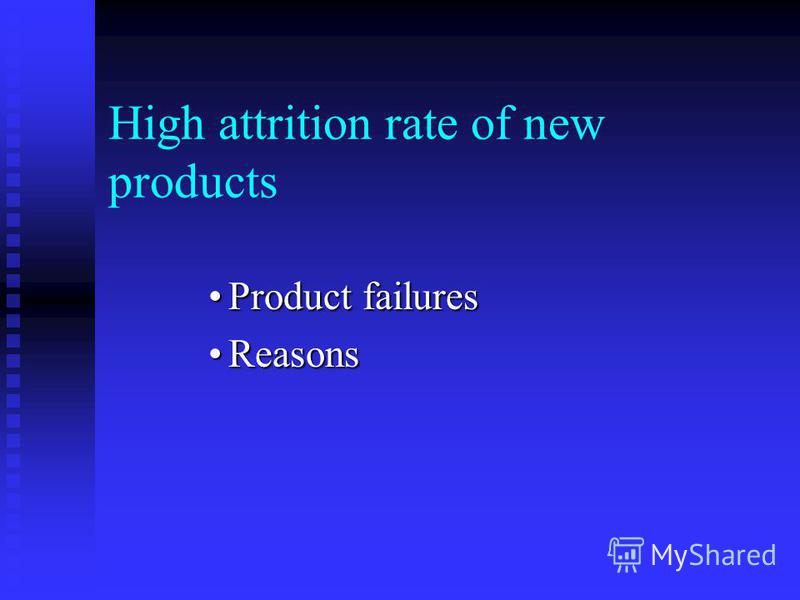 High attrition rate of new products Product failuresProduct failures ReasonsReasons
