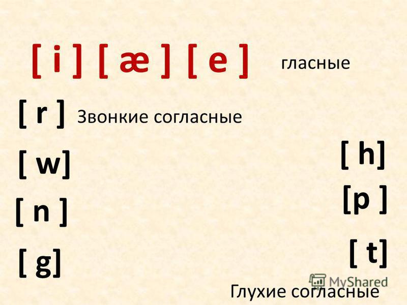 [ i ] [p ] [ n ] [ g] [ w] [ t] [ æ ] [ r ] [ h] гласные Звонкие согласные Глухие согласные [ e ]