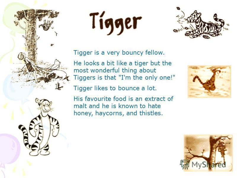 Tigger is a very bouncy fellow. He looks a bit like a tiger but the most wonderful thing about Tiggers is that