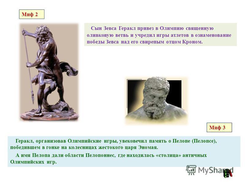 Геракл, организовав Олимпийские игры, увековечил память о Пелопе (Пелопсе), победившем в гонке на колесницах жестокого царя Эномая. А имя Пелопа дали области Пелопоннес, где находилась «столица» античных Олимпийских игр. Сын Зевса Геракл привез в Оли