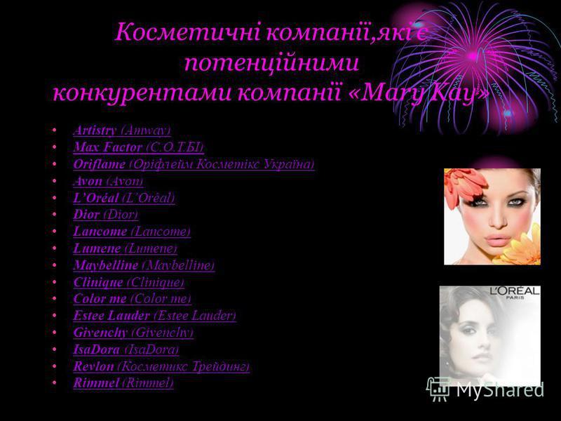 Косметичні компанії,які є потенційними конкурентами компанії «Mary Kay» Artistry (Amway) Max Factor (С.О.Т.БІ) Oriflame (Оріфлейм Косметікс Україна) Avon (Avon) LOréal (LOréal) Dior (Dior) Lancome (Lancome) Lumene (Lumene) Maybelline (Maybelline) Cli
