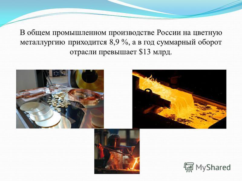 В общем промышленном производстве России на цветную металлургию приходится 8,9 %, а в год суммарный оборот отрасли превышает $13 млрд.