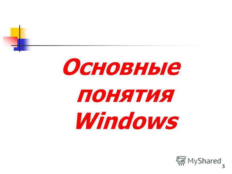 5 Основные понятия Windows