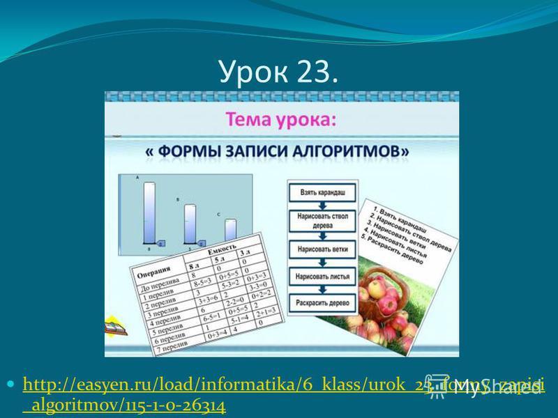 Урок 23. http://easyen.ru/load/informatika/6_klass/urok_23_formy_zapisi _algoritmov/115-1-0-26314 http://easyen.ru/load/informatika/6_klass/urok_23_formy_zapisi _algoritmov/115-1-0-26314