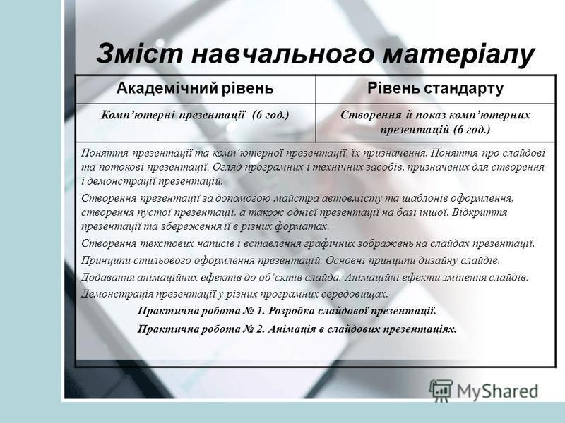 Зміст навчального матеріалу Академічний рівеньРівень стандарту Компютерні презентації (6 год.)Створення й показ компютерних презентацій (6 год.) Поняття презентації та компютерної презентації, їх призначення. Поняття про слайдові та потокові презента