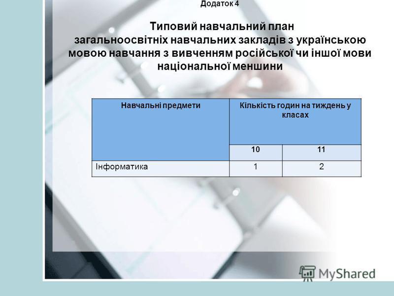 Додаток 4 Типовий навчальний план загальноосвітніх навчальних закладів з українською мовою навчання з вивченням російської чи іншої мови національної меншини Навчальні предметиКількість годин на тиждень у класах 1011 Інформатика12