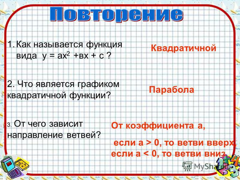 1. Как называется функция вида у = ах 2 +вх + с ? Квадратичной 2. Что является графиком квадратичной функции? Парабола 3. От чего зависит направление ветвей? От коэффициента а, если а > 0, то ветви вверх, если a < 0, то ветви вниз