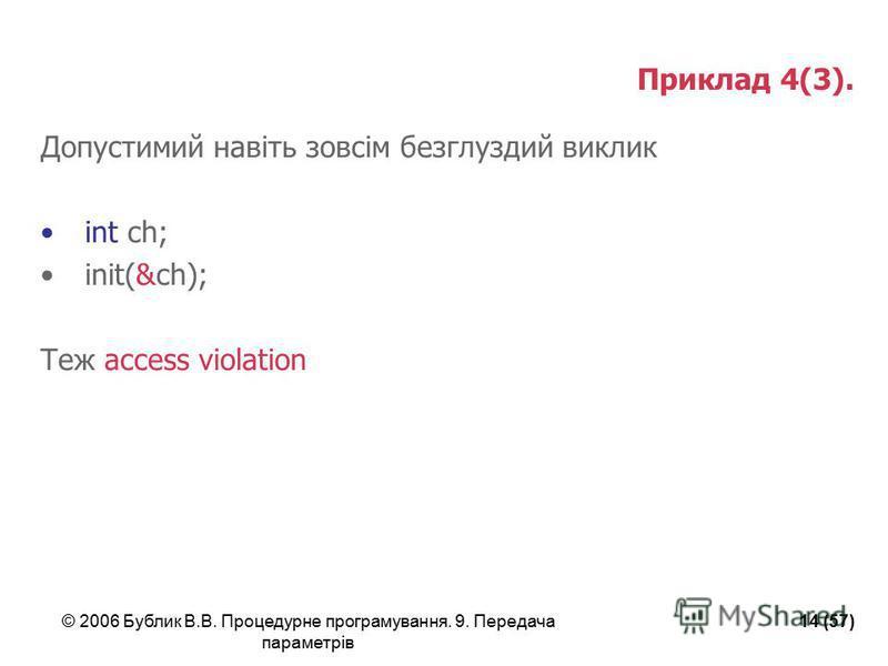 © 2006 Бублик В.В. Процедурне програмування. 9. Передача параметрів 14 (57) Приклад 4(3). Допустимий навіть зовсім безглуздий виклик int ch; init(&ch); Теж access violation