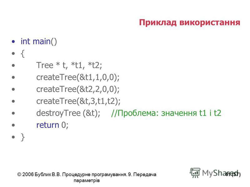 © 2006 Бублик В.В. Процедурне програмування. 9. Передача параметрів 41 (57) Приклад використання int main() { Tree * t, *t1, *t2; createTree(&t1,1,0,0); createTree(&t2,2,0,0); createTree(&t,3,t1,t2); destroyTree (&t);//Проблема: значення t1 і t2 retu