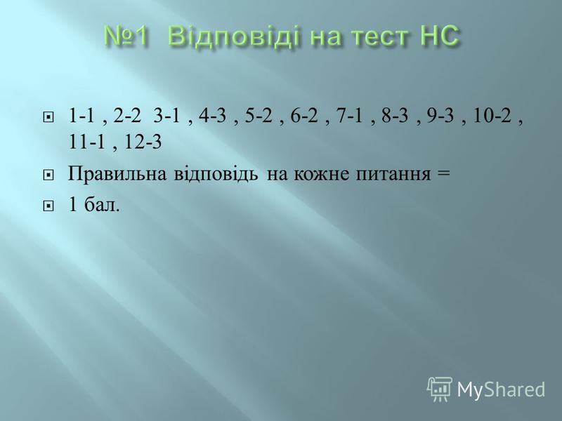 1-1, 2-2 3-1, 4-3, 5-2, 6-2, 7-1, 8-3, 9-3, 10-2, 11-1, 12-3 Правильна відповідь на кожне питання = 1 бал.