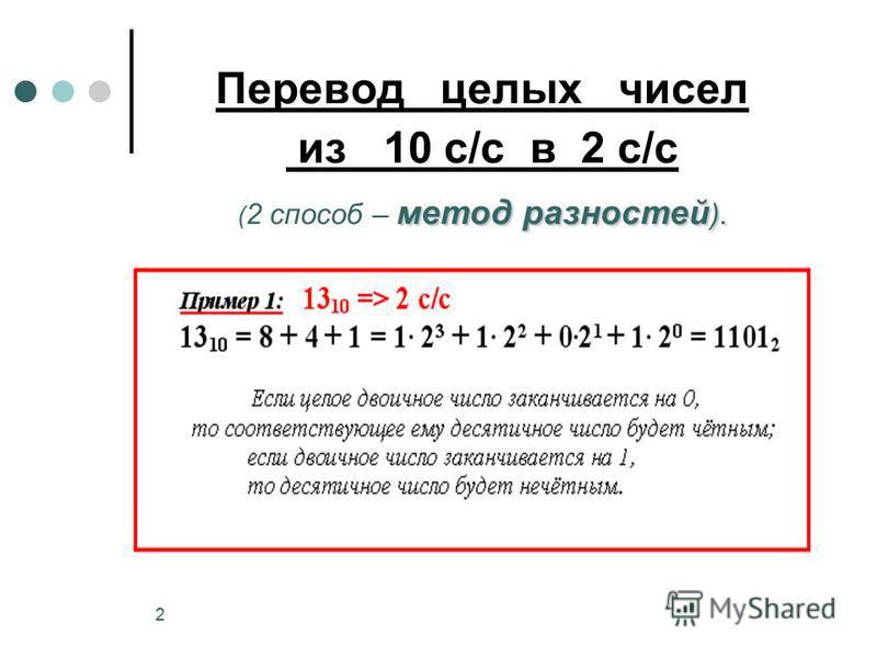 2 метод разностей ). Перевод целых чисел из 10 с/с в 2 с/с ( 2 способ – метод разностей ).