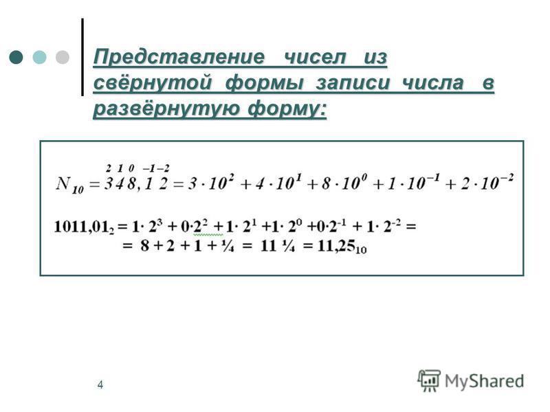 4 Представление чисел из свёрнутой формы записи числа в развёрнутую форму: